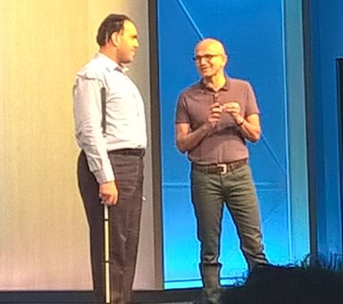 Microsoft CEO Satya Nadella with Saqib Shaikh, who has written an assistive app for visually impaired users