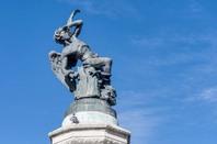The Fountain of the Fallen Angel (Fuente del Angel Caido) or Monument of the Fallen Angel, a highlight of the Buen Retiro Park in Madrid, Spain. Photo by Anibal Trejo/Shutterstock