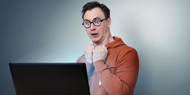 surprised nerd, image via Shutterstock