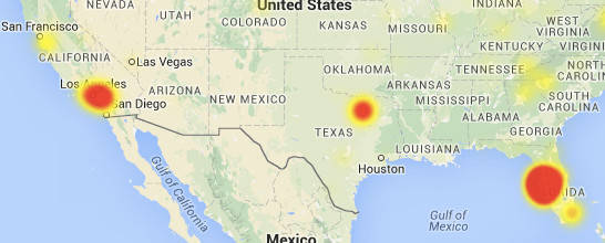 Map of the outage