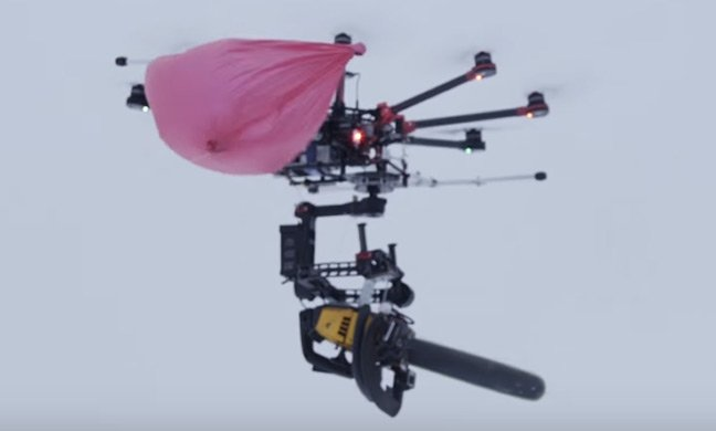 The Killerdrone entangled in a burst party balloon