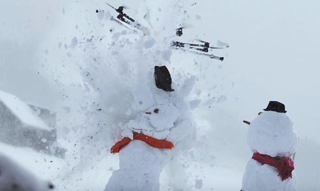 The Killerdrone attacks a snowman