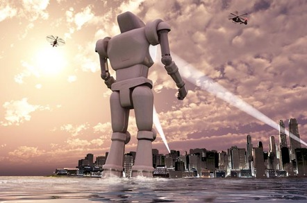 Robot surveys city by the sea. Image via SHutterstock