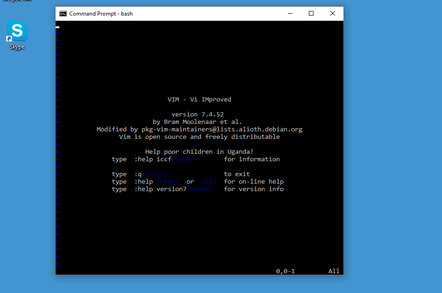 Ubuntu on Windows, complete with Vi editor