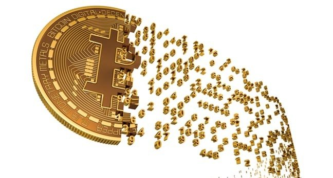 """Illustration of a """"bitcoin"""" dissolving into numbers. Photo by SHutterstock"""