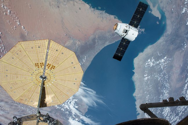 The Dragon approaching the ISS last weekend. Pic: NASA