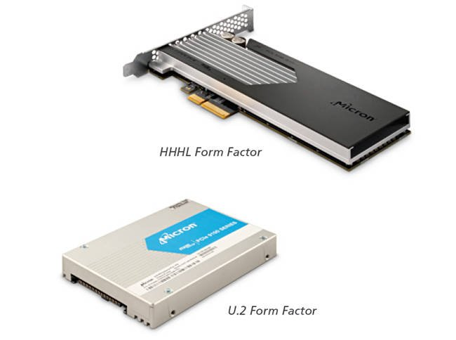 Micron 9100 NVMe flash drives, 800GB each in the HHHL (standard PCIe card) format