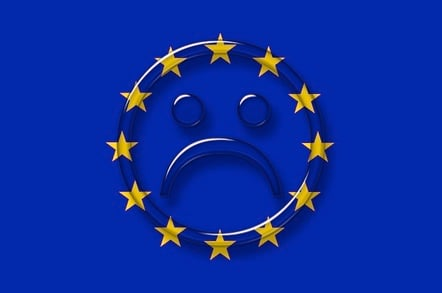 European flag with sad face