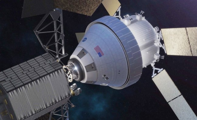 Artist's impression of Orion docking with the ARM robotic vehicle