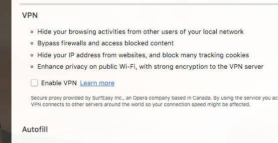 Opera VPN (OS X) setup