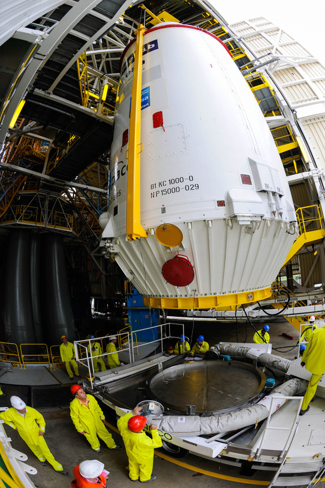 The encapsulated Sentinel is mounted atop the Soyuz. Pic: ESA / Manuel Pedoussaut