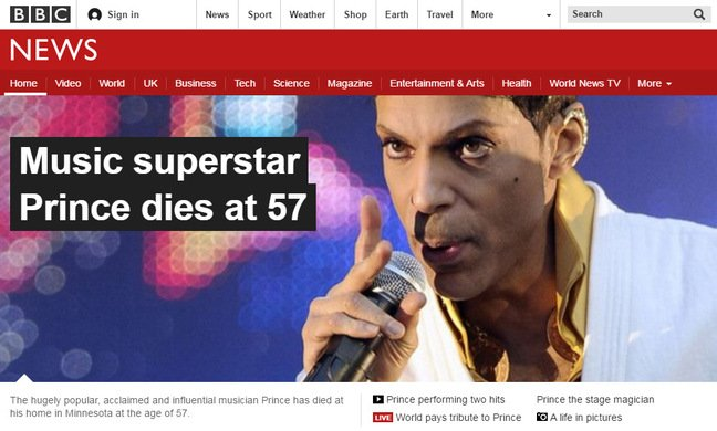 BBC website featuring blanket Prince coverage