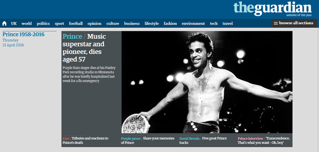 The Guadian's website showing Prince coverage
