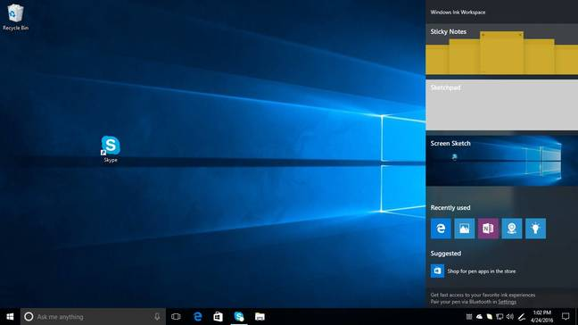 The Ink Workspace in Windows 10 build 14328