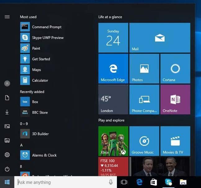 The revised Start menu in Build 14328