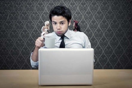 Man on laptop has ethical dilemma (represted by angel and demon on either shoulder). Photo by Shutterstock