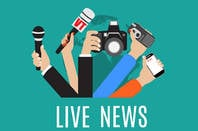 Live news illustration with microphones and cameras