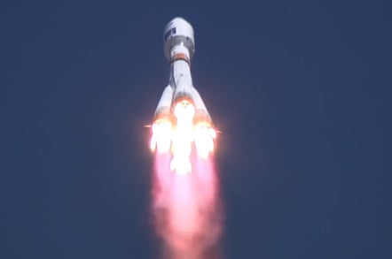 The Soyuz in flight following the launch. Pic: Roscosmos