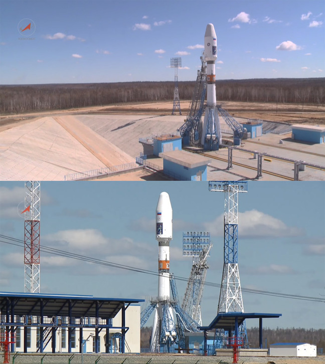 Two views of the Soyuz on the launchpad at Vostochny. Pics: Roscosmos