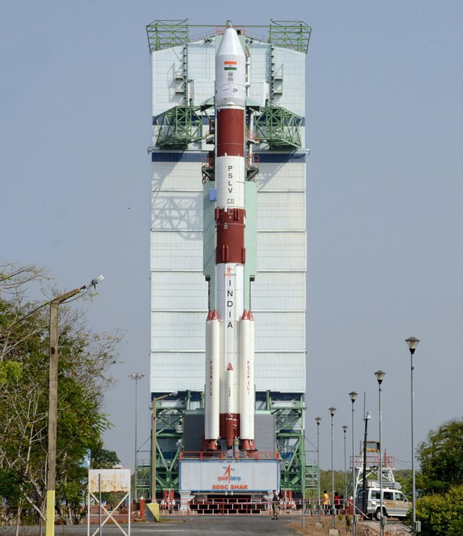 The PSLV on the pad before the launch. Pic: ISRO