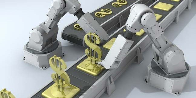 Mechanical hands produce gold bars on assembly line. Photo by Shutterstock