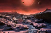 Artist's impression of the TRAPPIST-1 system seen from one of the planets. Pic: ESO / M. Kornmesser
