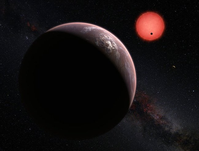 View of TRAPPIST-1 and its three planets. Pic: ESO / M. Kornmesser / N. Risinger (skysurvey.org)