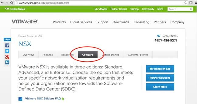 VMware's added feature comparison page