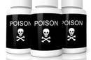 Three bottles labeled poison with skull and crossbones symbol