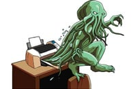 Cthulu emerges from a printer. Image created by illustrator Andy Davies. Copyright: The Register