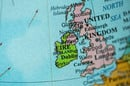 Ireland and Great Britain map, image via Shutterstock