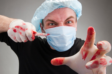 mad surgeon with bloody scalpel