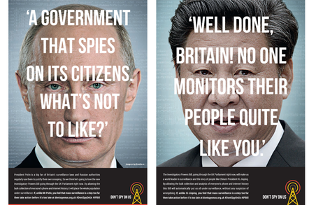 "Vladimir Putin and Xi Jinping ""endorse"" the investigatory powers bill. Ad image supplied by Don't Spy On Us..."