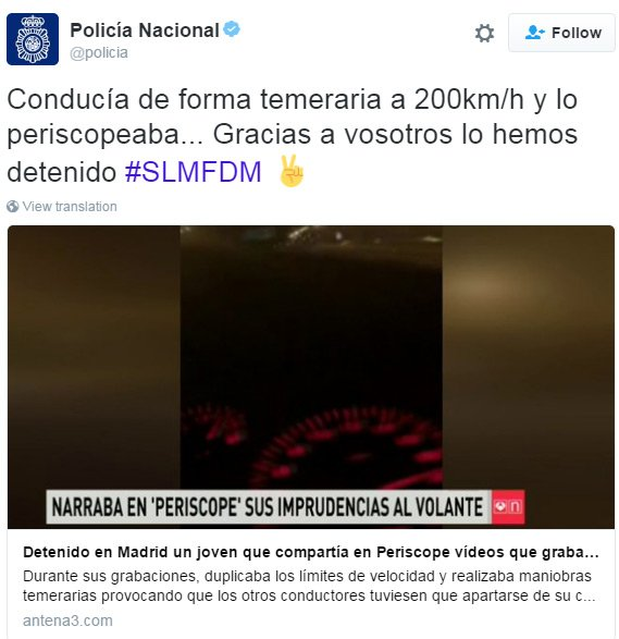 Spanish police tweet regarding the Periscope cuffing