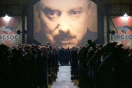still from movie 1984... Big Brother on the white screen