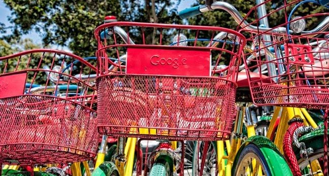 Google bikes outside Google HQ. Photo by Randy Miramontez/Shutterstock - for editorial use only.
