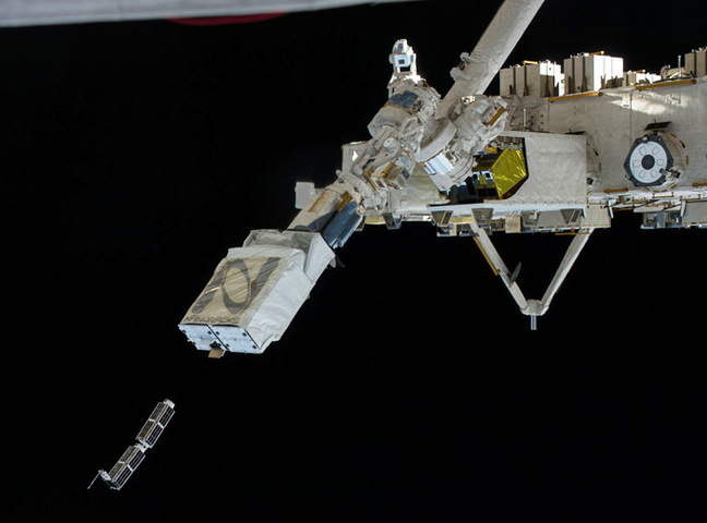 CubeSat deployment from the NanoRacks Launcher. Pic: NASA