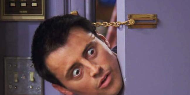 Joey from the sitcom friends pokes his head around the door (invasively). Photo copyright NBC