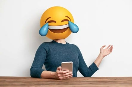 Woman with crying with laughter emoji for a head