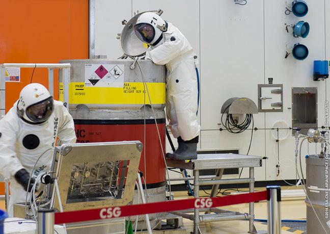 Two men in chem suits fuel Galileo 13. Pic: ESA-CNES-Arianespace / Optique video du CSG – S Martin