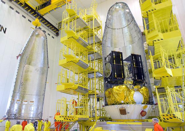 Galileos 13 and 14 during encapsulation. Pic: ESA / CNES / Arianespace – JM Guillon