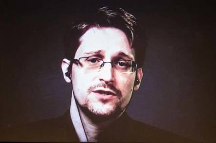 Edward Snowden at Think. Image Darren Pauli / The Register