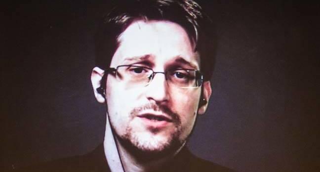 Edward Snowden at Think. Image Darren Pauli / The Register