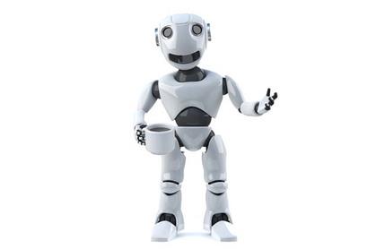 Robot hands viewer a cup of tea. Photo by Shutterstock