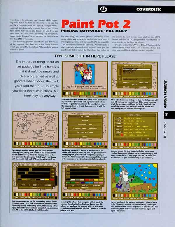 Amiga Format classic print cockup