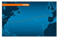 The route of the MAREA submarine cable funded by Microsoft and Facebook