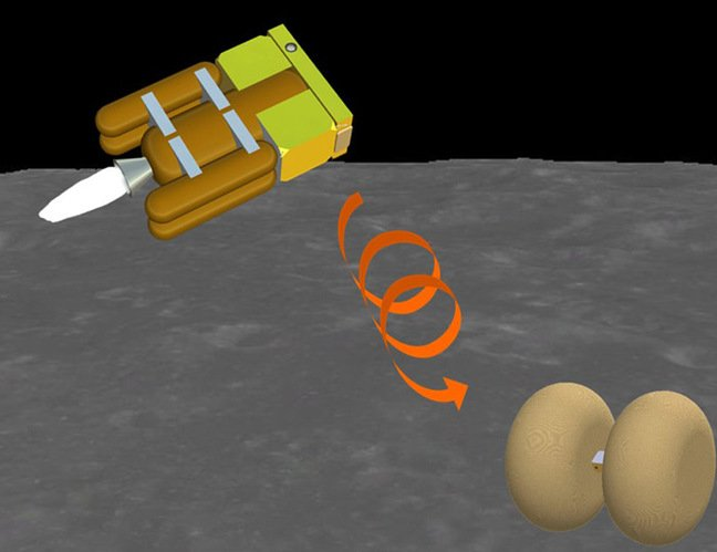 Artists impression of OMOTENASHI landing on the Moon. Pic: JAXA/University of Tokyo