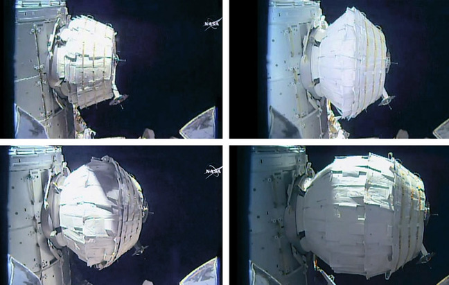 Time-lapse images of the BEAM inflation. Pic: NASA TV