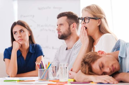 Group of young people yawning/looking bored. Photo by shutterstock