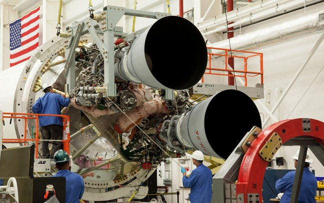 Two RD-181 engines being fitted to Antares. Pic: NASA